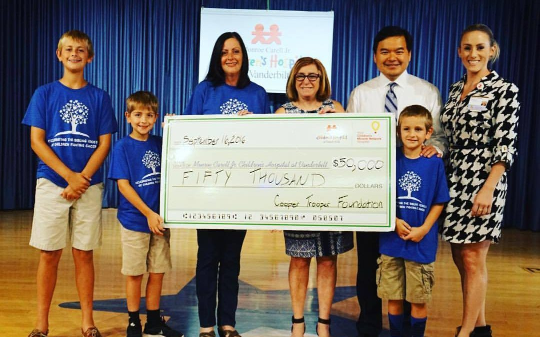 CTF gives $50,000 to Monroe Carell Jr. Children's Hospital at Vanderbilt for a total of $150,000 toward funding for Childhood Cancer Research